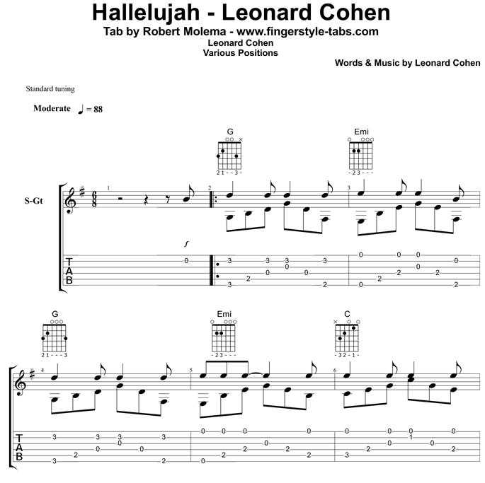 Leonard Cohen Hallelujah Chords Lyrics