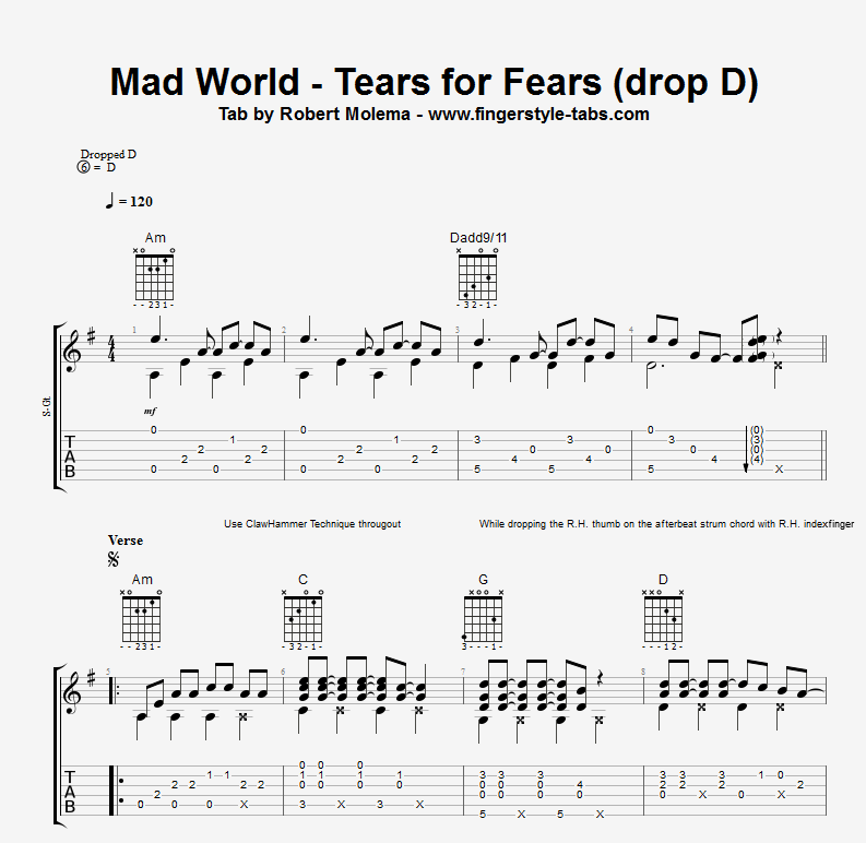 Quality Tab For The Song Mad World From Tears For Fears