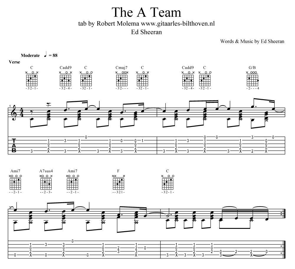 Quality Tab For The Song The A Team From Ed Sheeran